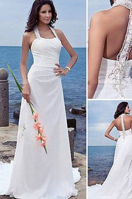 Court Train Natural Waist Chiffon Beach Sleeveless Wedding Dress