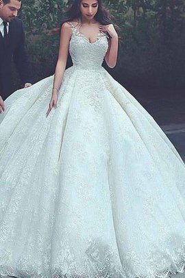 Natural Waist Inverted Triangle Long Chic & Modern Puffy Charming Wedding Dress