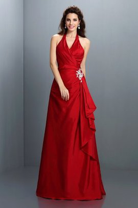 Long Natural Waist Floor Length Halter A-Line Evening Dress