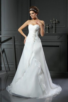 Sweetheart Sleeveless Satin Empire Waist Ruched Wedding Dress