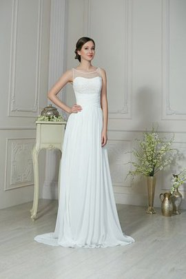 Keyhole Back Vintage Long Informal & Casual Chiffon Wedding Dress
