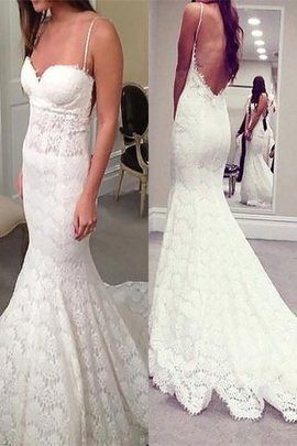 Sleeveless Lace Mermaid Spaghetti Straps Court Train Wedding Dress