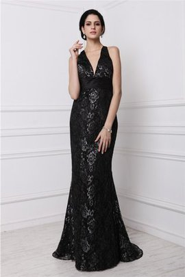 Sweep Train Natural Waist Lace Sleeveless Sheath Evening Dress