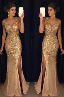 Sheath V-Neck Sleeveless Sequins Empire Waist Evening Dress