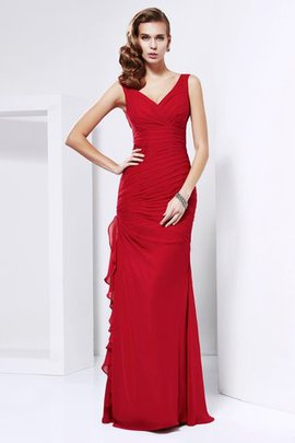 Sheath Sleeveless Natural Waist Long V-Neck Evening Dress
