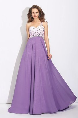 One Shoulder Sweep Train Chiffon Princess Empire Waist Prom Dress