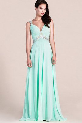 Zipper Up Ruched Beading Sleeveless Sweep Train Evening Dress