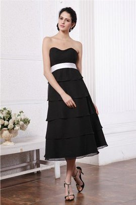 A-Line Chiffon Ruffles Sashes Sweetheart Bridesmaid Dress