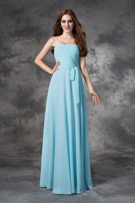 Long Floor Length A-Line Ruched Zipper Up Bridesmaid Dress