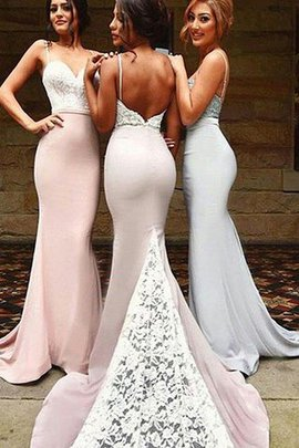 Natural Waist Mermaid Sweetheart Sleeveless Sweep Train Bridesmaid Dress