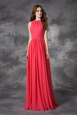 Ruffles Sleeveless Princess Chiffon Jewel Bridesmaid Dress