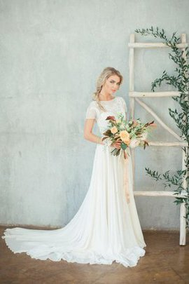 Long Informal & Casual Zipper Up See Through Bateau Wedding Dress