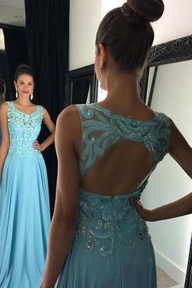 Princess Scoop Natural Waist Sleeveless Appliques Evening Dress