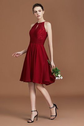 Knee Length Halter Zipper Up Lace Princess Natural Waist Popular Bridesmaid Dress