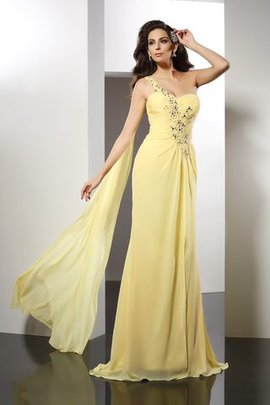 Long Floor Length Natural Waist Chiffon Princess Evening Dress