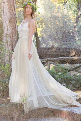 Informal & Casual Floor Length Tulle Simple Sleeveless Wedding Dress