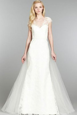 A-Line Sexy Tulle Sweep Train Capped Sleeves Wedding Dress