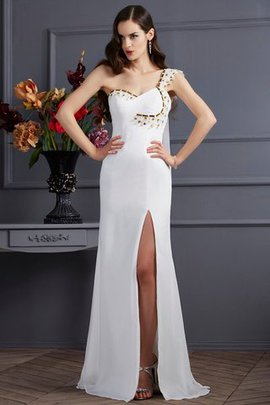 Chiffon One Shoulder Princess Sleeveless Sweep Train Evening Dress