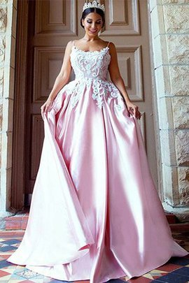 Sweep Train Attractive Satin Sleeveless Spaghetti Straps Zipper Up Appliques Prom Dress