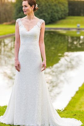 Sweep Train Capped Sleeves Long A-Line Wedding Dress