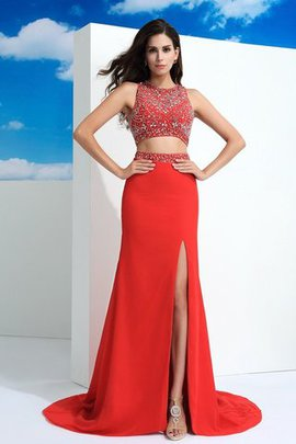 Natural Waist 2 Piece Long Sheath Beading Prom Dress