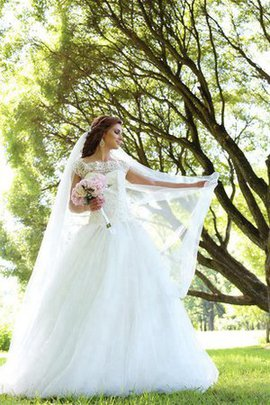 Lace-up Natural Waist Short Sleeves A-Line Floor Length Wedding Dress