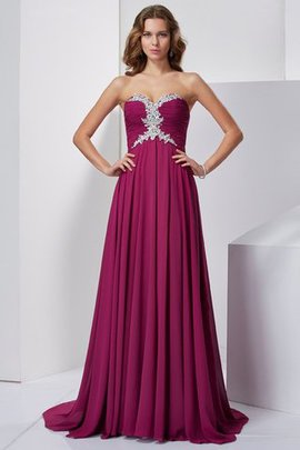 Chiffon Beading Long Sweep Train Natural Waist Prom Dress