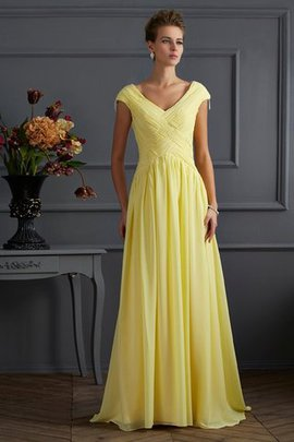 Chiffon Princess Sweep Train Draped Prom Dress