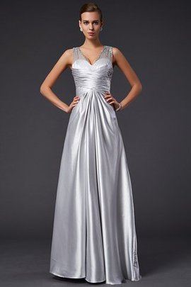 Elastic Woven Satin Long A-Line V-Neck Floor Length Evening Dress