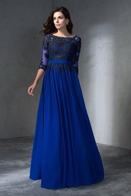 Zipper Up A-Line Long 3/4 Length Sleeves Evening Dress