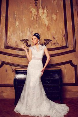 Capped Sleeves Natural Waist Floor Length Appliques Court Train Wedding Dress