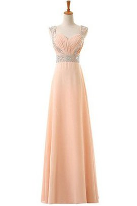 Capped Sleeves Natural Waist Chiffon Zipper Up Ruched Prom Dress