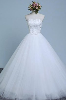 Lace-up Organza Tulle Natural Waist Sleeveless Wedding Dress