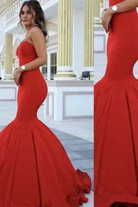 Sleeveless Sweetheart Floor Length Satin Natural Waist Evening Dress
