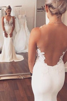 Mermaid Natural Waist Appliques Sleeveless Court Train Wedding Dress