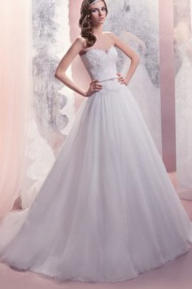 Natural Waist Beading Lace-up Sleeveless A-Line Wedding Dress