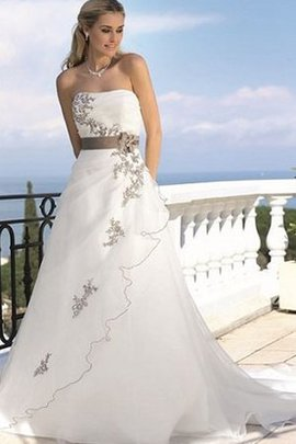 A-Line Zipper Up Tulle Floor Length Natural Waist Wedding Dress