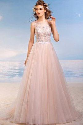 Sleeveless Beach A-Line Pleated Scoop Wedding Dress