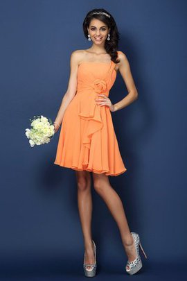Short A-Line Natural Waist One Shoulder Strapless Bridesmaid Dress