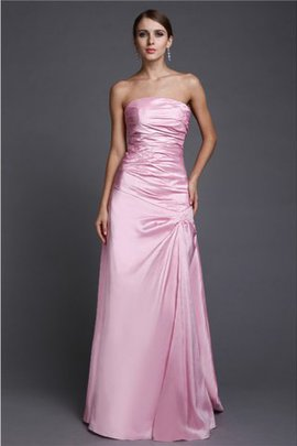 A-Line Strapless Long Beading Natural Waist Evening Dress