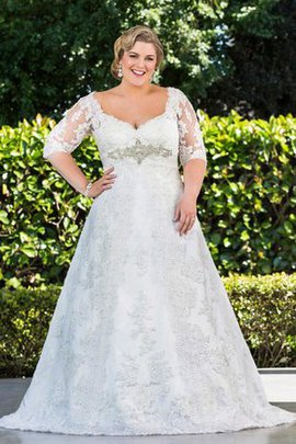 Sequined Satin Beading Sweep Train Plus Size Wedding Dress