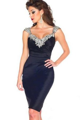 Informal & Casual Sheath Short Sleeves Crystal Satin Evening Dress