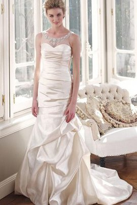 Satin A-Line Pick-Ups Elegant & Luxurious Natural Waist Wedding Dress
