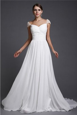 Natural Waist Sweep Train Chiffon A-Line Evening Dress