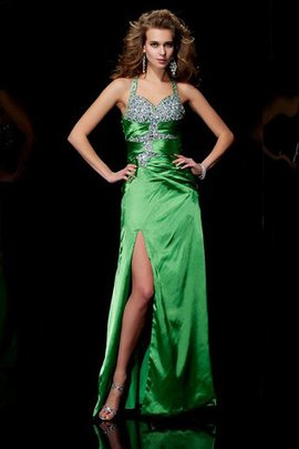 Sweep Train Long Sleeveless Elastic Woven Satin Beading Prom Dress