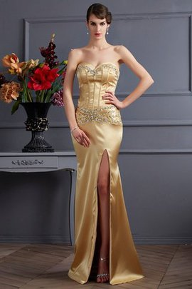 Natural Waist Sheath Elastic Woven Satin Beading Sweep Train Evening Dress