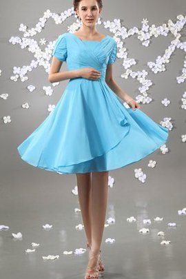 Zipper Up Short Sleeves Ruffles Ruched Pleated Bridesmaid Dress