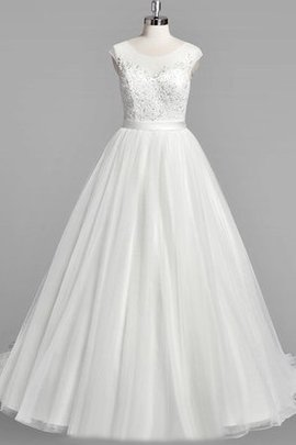 Scoop Beading Capped Sleeves Natural Waist Tulle Wedding Dress