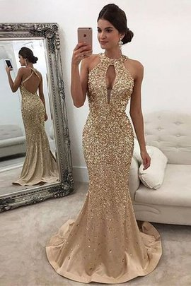 Satin Mermaid Sweep Train Zipper Up Sequins Evening Dress