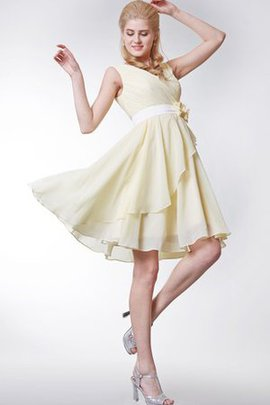 Flowers Chiffon Informal & Casual Knee Length Capped Sleeves Bridesmaid Dress